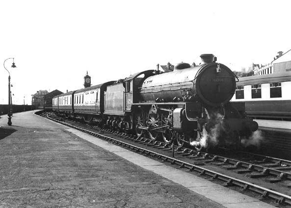Class B1 excursion train at Cleethorpes Station in early morning.