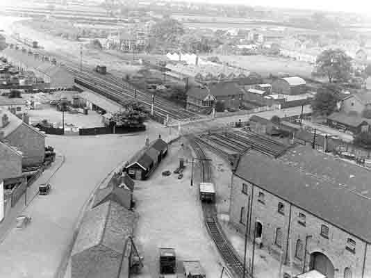 Keddington Road Crossing. Louth North signal box with goods shed in foreground. Viewed from the Maltings sometime in the 1940s.